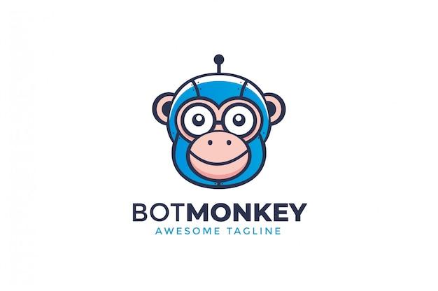 Logotipo de mascote de robô de macaco