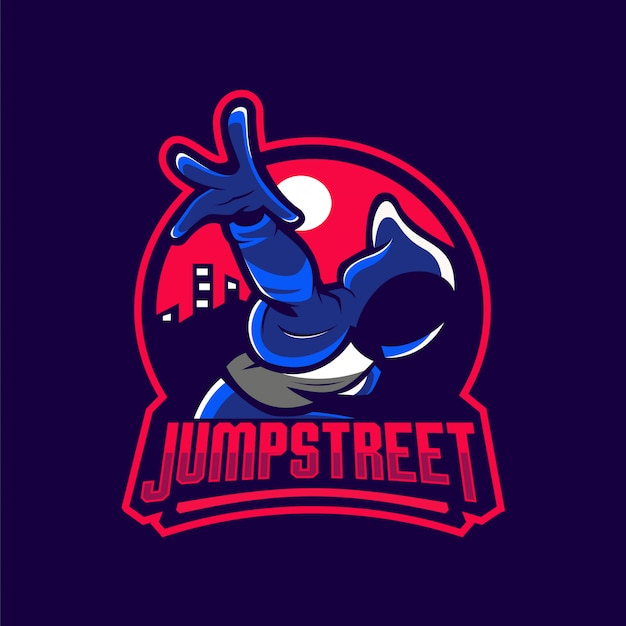 Logotipo de mascote de rua de salto