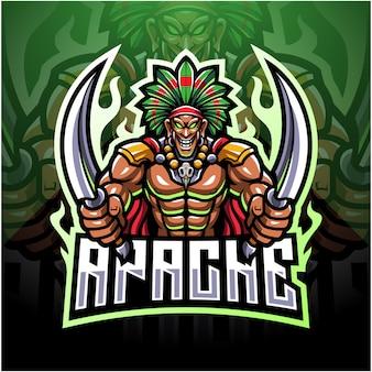 Logotipo de mascote de tribal tribal esport