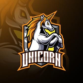 Logotipo de mascote de unicórnio de salto