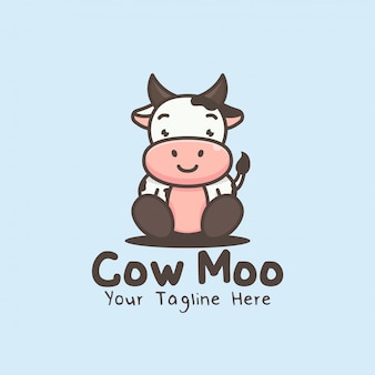 Logotipo de mascote de vaca de personagem de desenho bonito