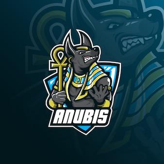 Logotipo de mascote de vetor de anubis