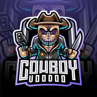 Logotipo de mascote de vodu cowboy esport