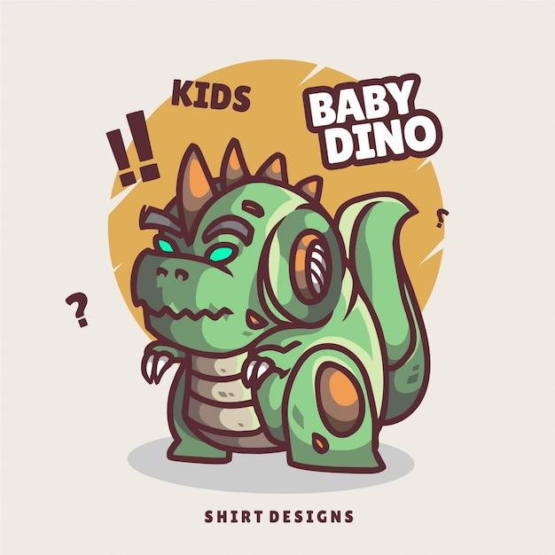 Logotipo de mascote dino mecha bebê