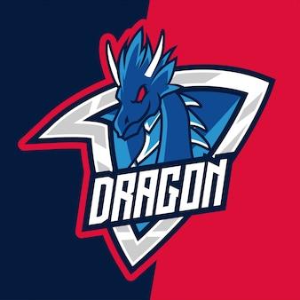 Logotipo de mascote do e-sport de guerreiro dragão de montanha azul