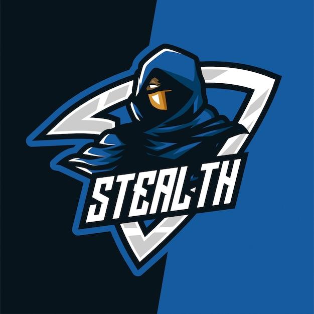 Logotipo de mascote do e-sport furtivo de escuridão azul