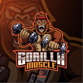Logotipo de mascote do músculo gorila