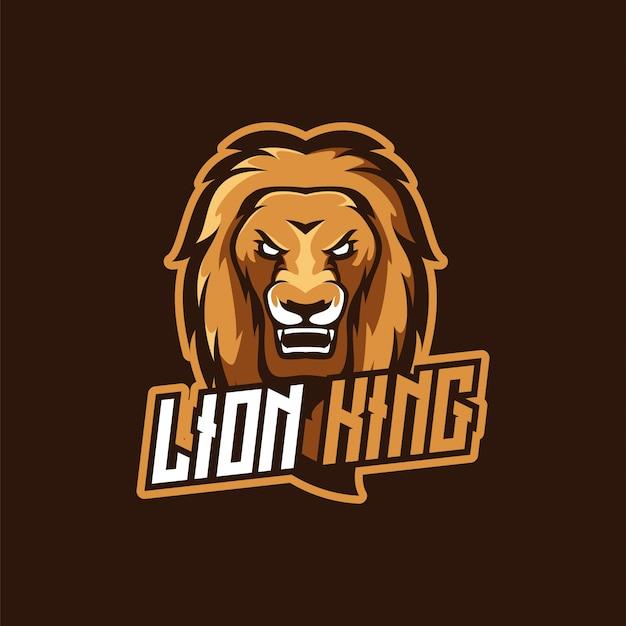 Logotipo de mascote do rei leão e-sport