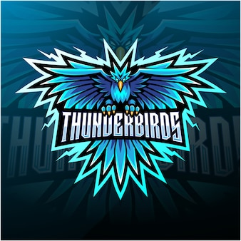 Logotipo de mascote do thunder birds esport