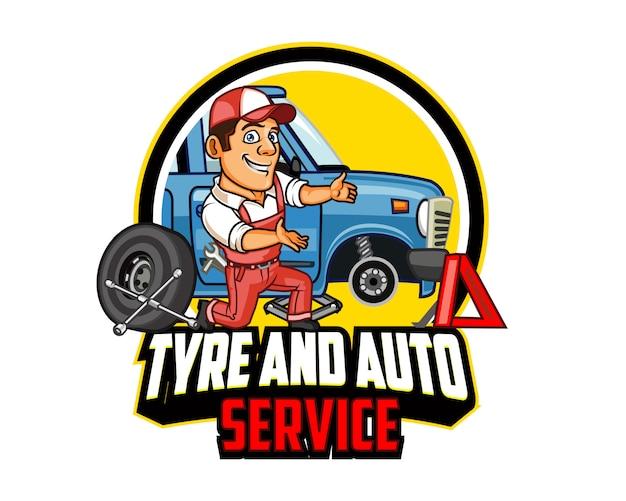 Logotipo de mascote dos desenhos animados de auto serviço