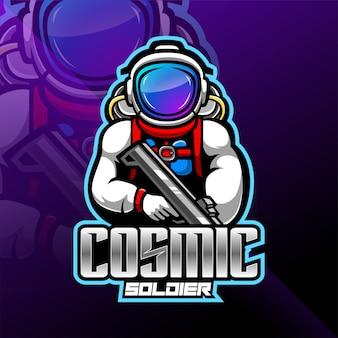 Logotipo de mascote esport astronauta galáxia