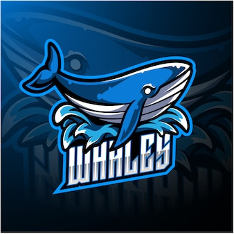 Logotipo de mascote esport baleia