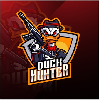 Logotipo de mascote esport caçador de pato