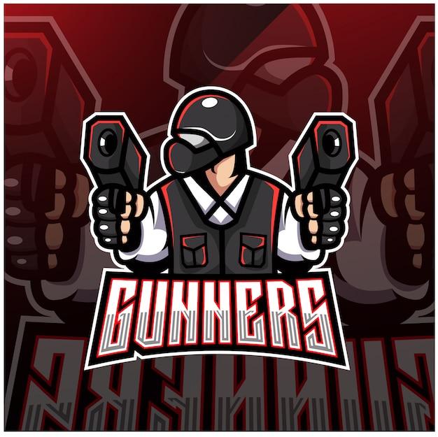 Logotipo de mascote esport de artilheiro