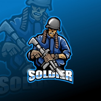 Logotipo de mascote esport de exército de zumbi