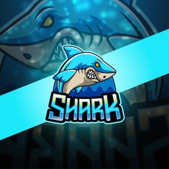 Logotipo de mascote esport de tubarão