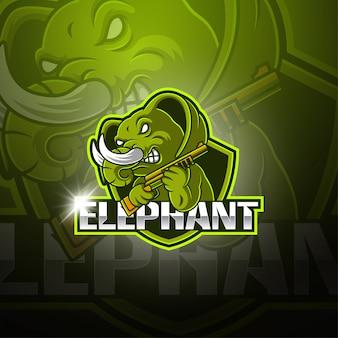 Logotipo de mascote esport elefante