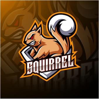 Logotipo de mascote esport esquilo