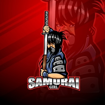 Logotipo de mascote esport garota samurai
