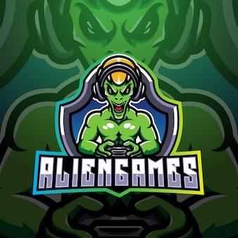 Logotipo de mascote esport jogos alienígena