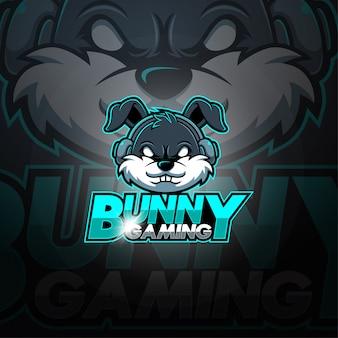 Logotipo de mascote esport jogos coelho