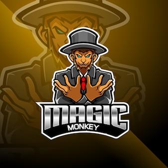 Logotipo de mascote esport macaco mágico