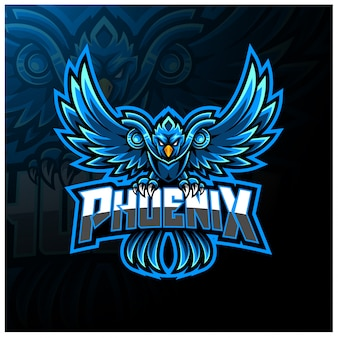 Logotipo de mascote esport phoenix azul