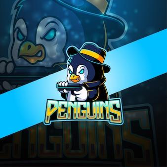 Logotipo de mascote esport pinguim