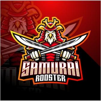 Logotipo de mascote esport samurai galo