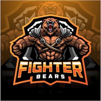 Logotipo de mascote esport urso lutador