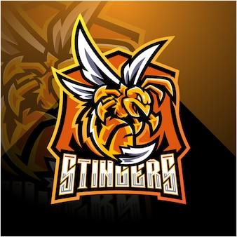 Logotipo de mascote esport zangado abelha