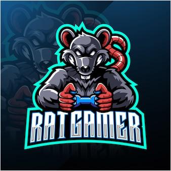 Logotipo de mascote esportista de jogador de rato