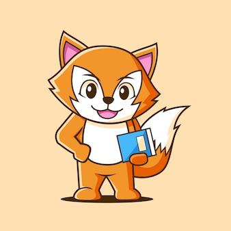 Logotipo de mascote fox estudante inteligente design