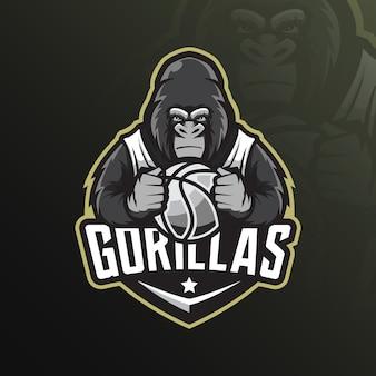 Logotipo de mascote gorila com ilustração moderna