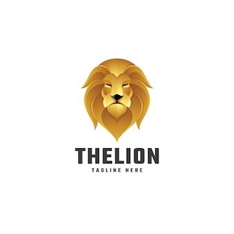 Logotipo de mascote leão leo cor gradiente ouro