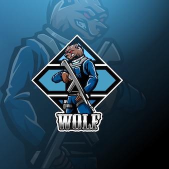 Logotipo de mascote lobo com espingarda