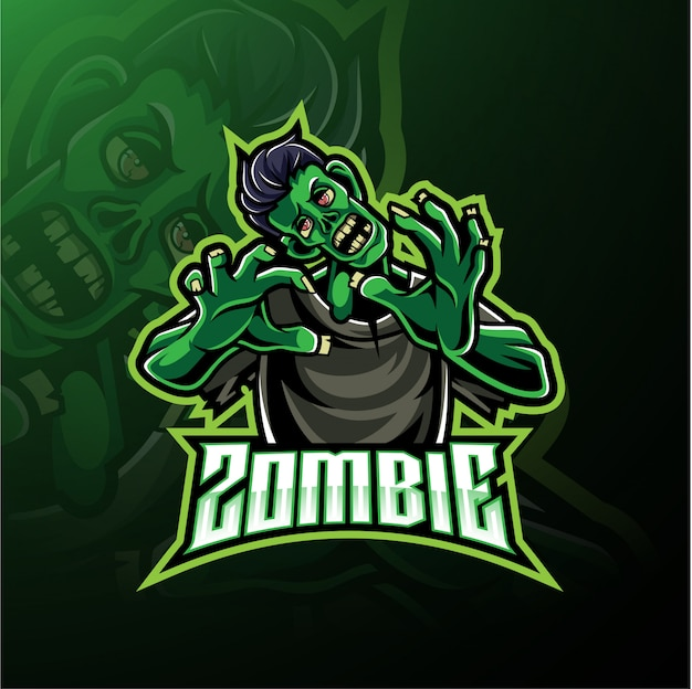 Logotipo de mascote morto-vivo zumbi