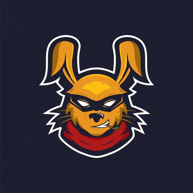 Logotipo de mascote ninja de coelho