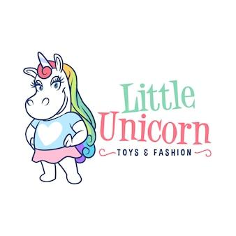 Logotipo de mascote pequena garota de unicórnio