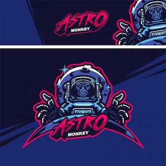 Logotipo de mascote premium de macaco astronauta