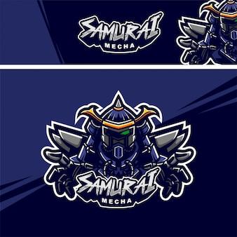Logotipo de mascote premium de robô samurai