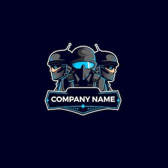 Logotipo de mascote soldado de equipe