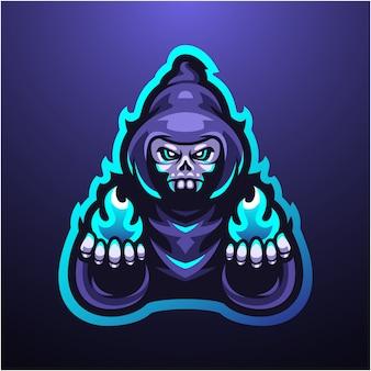 Logotipo de mascote sombrio assistente