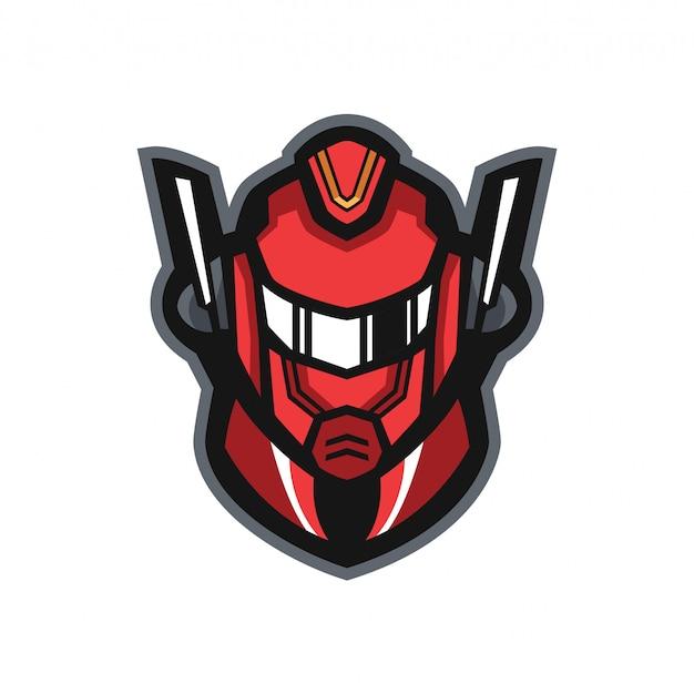 Logotipo de mascote vermelho de robô