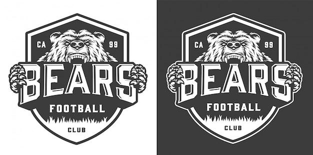 Logotipo de mascote vintage time de futebol monocromático