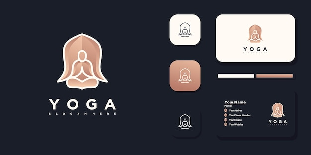 Logotipo de meditação de ioga com conceito de flor