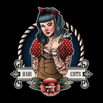 Logotipo de menina de barbeiro retrô