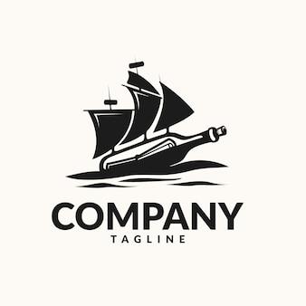 Logotipo de mensagem de garrafa