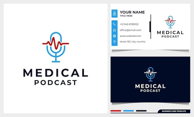 Logotipo de microfone de podcast médico com pulso de coração Vetor Premium