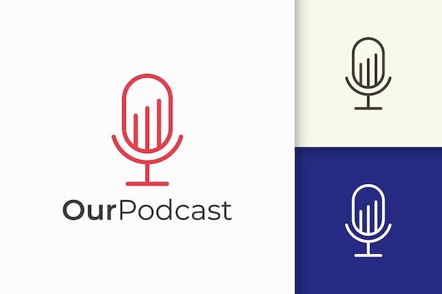 Logotipo de microfone simples representa gravação ou áudio para podcast